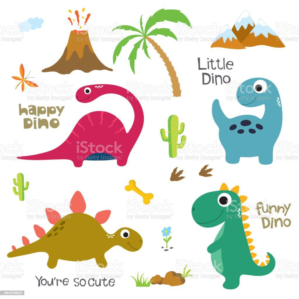 Pegada de dinossauro, vulcão, palmeira e outros elementos de design - ilustração de arte em vetor