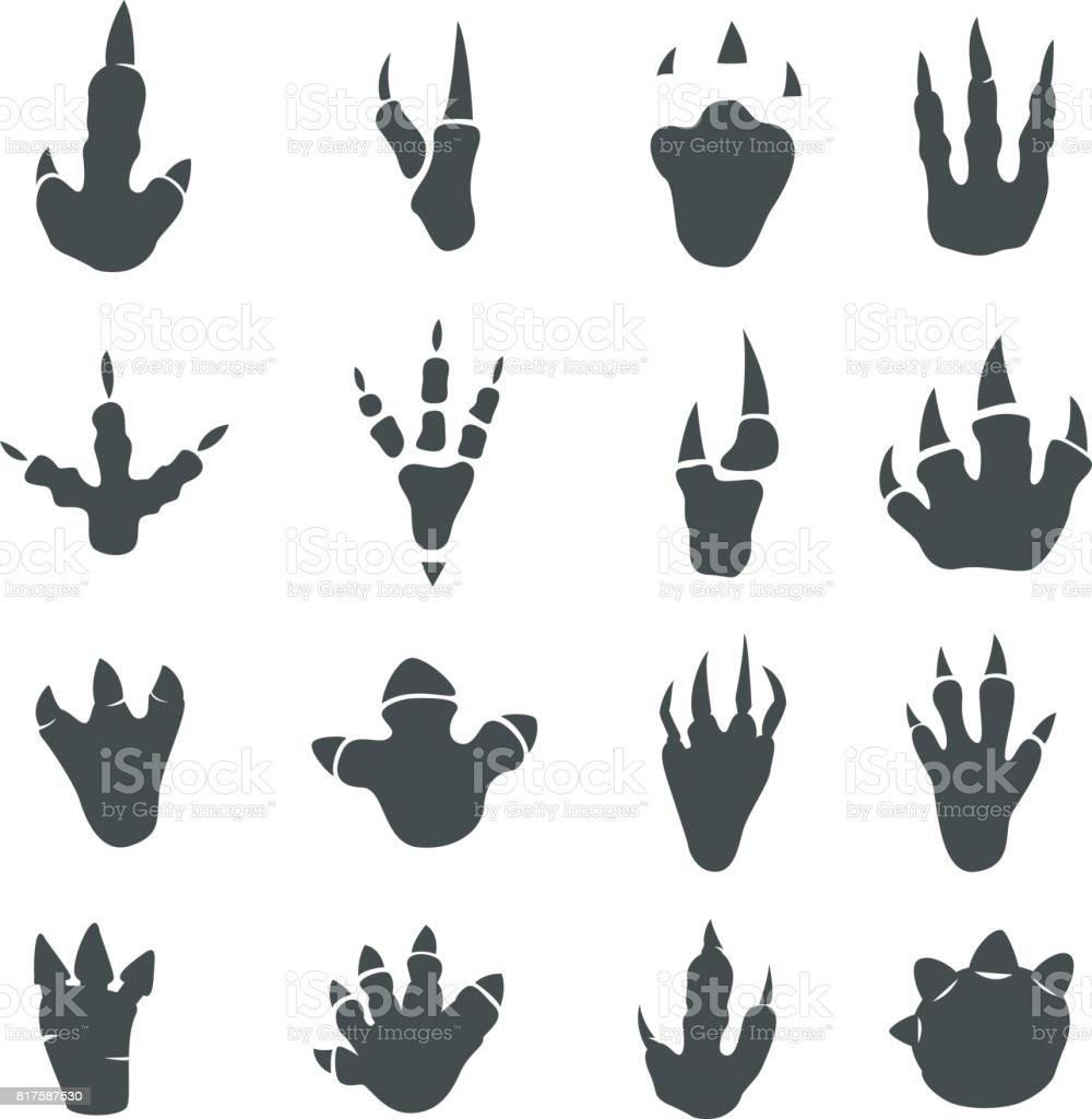 Dinosaur footprints collection on white vector art illustration