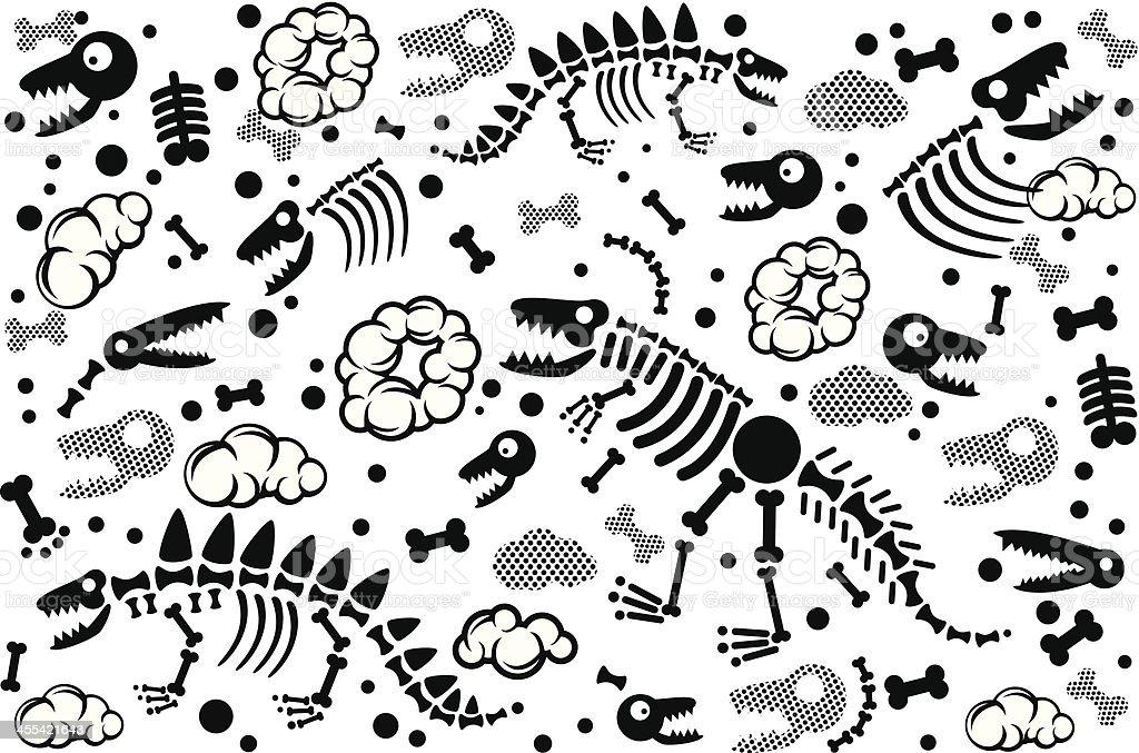dinosaur fossil texture vector art illustration