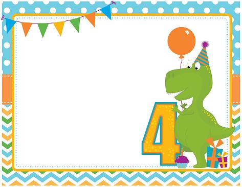 Dinosaur Fourth Birthday Card
