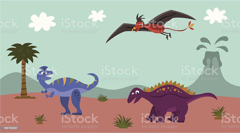 Dinosaur fun vector art illustration