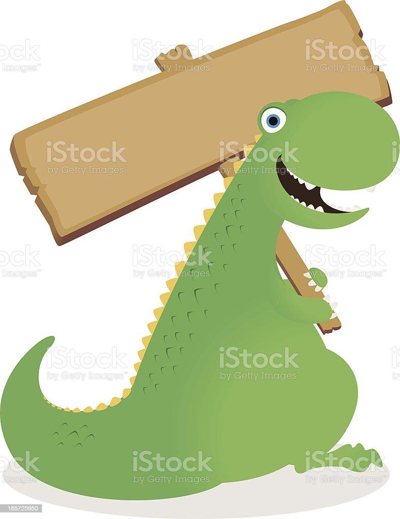 Dinosaur holding a blank sign royalty-free stock vector art