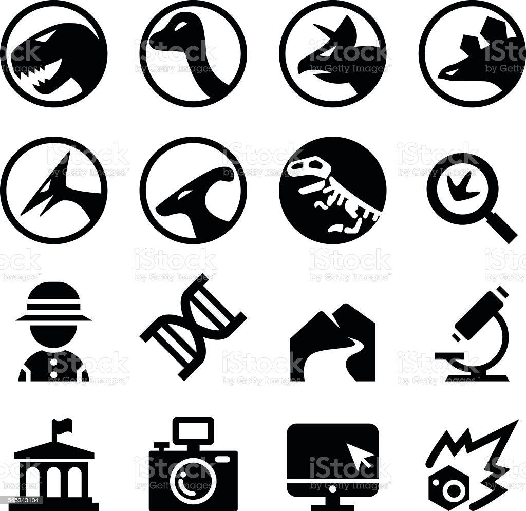 Dinosaur icon set vector art illustration