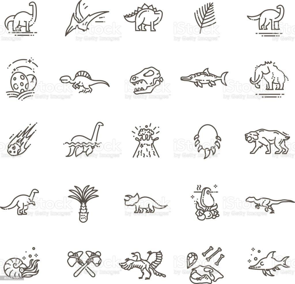 Dinosaur icons vector. Dinosaur egg and volcano, dinosaur skeleton and tyrannosaurus icons vector art illustration