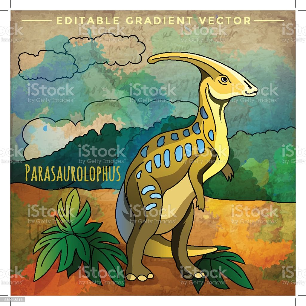 Dinosaur In The Habitat Vector Illustration Of Parasauroloph Stock