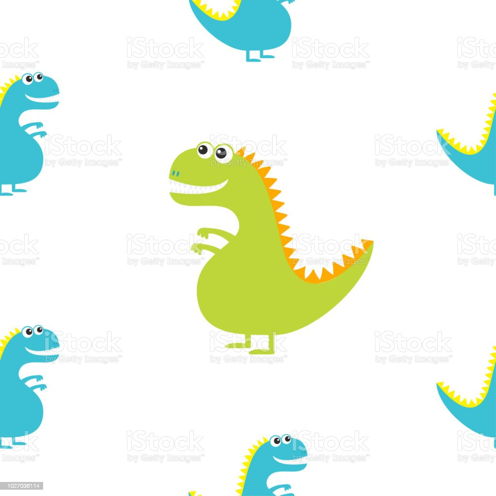 dinosaur isolated on white background cute cartoon funny dino baby