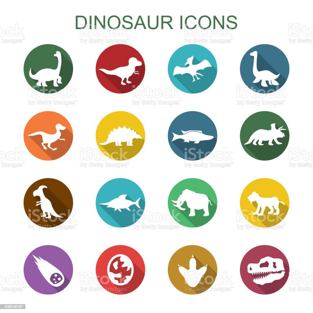 dinosaur long shadow icons vector art illustration
