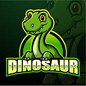 Vector illustration of Dinosaur mascot esport logo design