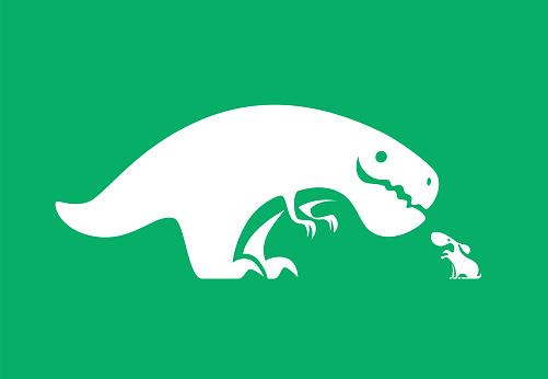 dinosaur meeting barking dog symbol