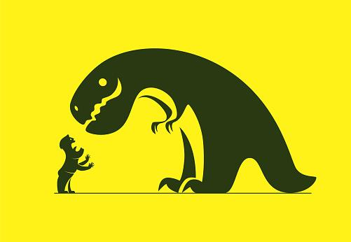 dinosaur meeting screaming man silhouette