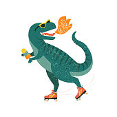 istock Dinosaur on roller skates with ice cream. Roar. Vector illustration. 1188845791
