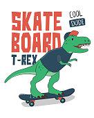 Dinosaur on Skateboard