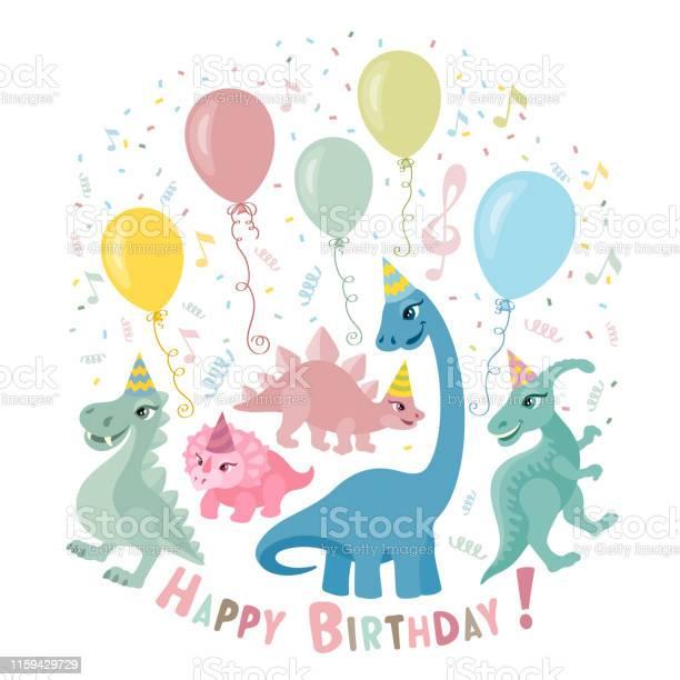 Tarjeta De Cumpleaños Linda Del Dinosaurio Descargar