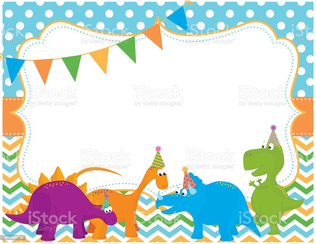 Dinosaur Party Invitation Card Stock Vector Art & More Images of ...
