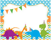 A vector illustration featuring cartoon dinosaurs with birthday hats and a blank invitation. Objects are grouped and layered for easy editing. Files included: AI, EPS10, large high res JPG.