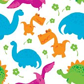Dinosaur pattern on white background. Vector illustration for decoration of cildren roon, wallpaper, textile print, wrapping paper.
