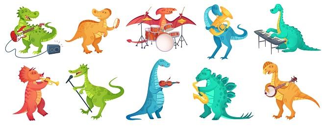 Dinosaur play music. Tyrannosaurus rockstar play guitar, dino drummer and cartoon dinosaurs musicians vector illustration set
