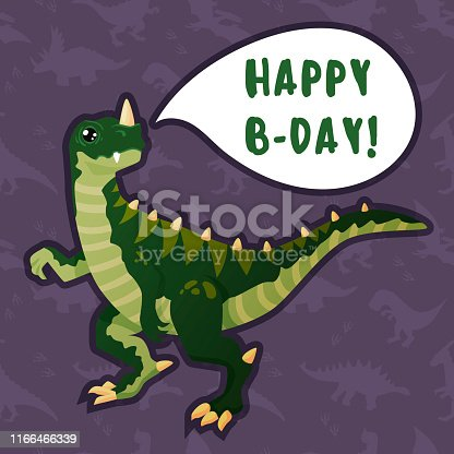 Cute green dinosaur wishes happy birthday, comic book greeting card. On a dark background with a seamless dinosaur pattern. For the holiday decoration.