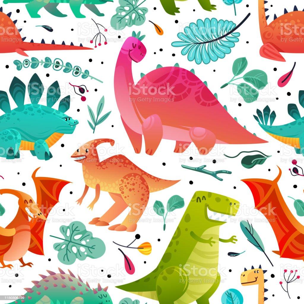 Vetores De Teste Padrao Sem Emenda Do Dinossauro Dino Textil