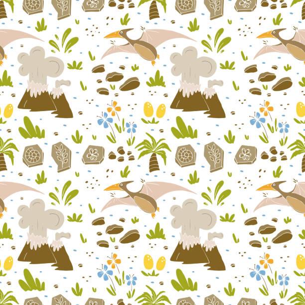 dinosaur seamless pattern - fossilized leaves stock illustrations