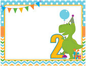 A vector illustration of a second birthday card featuring a dinosaur. Objects are grouped and layered for easy editing. Files included: AI, EPS10, large high res JPG and PNG.