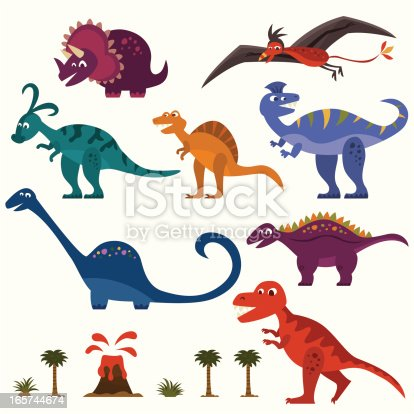 cute dinosaur characters set.