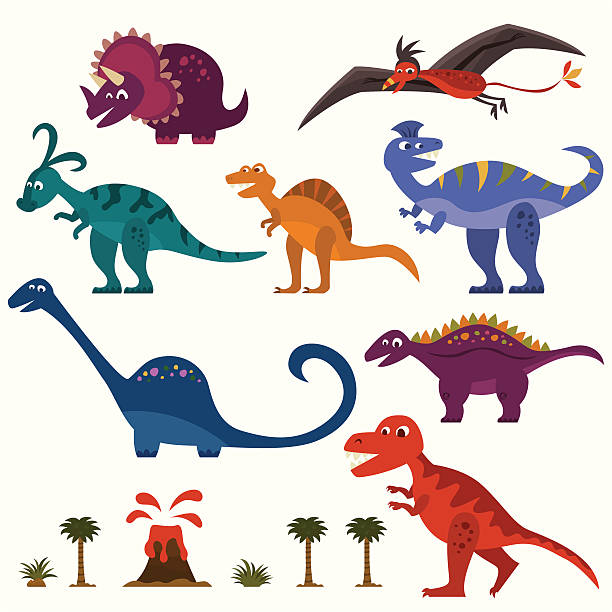 dinosaur set - dinosaur stock illustrations, clip art, cartoons, & icons