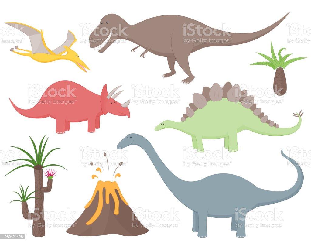 Dinosaur set with Tyrannosaurus Rex, Stegosaurus, Triceratops, Diplodocus, Pteradactyl, prehistoric plants and volcano. vector art illustration