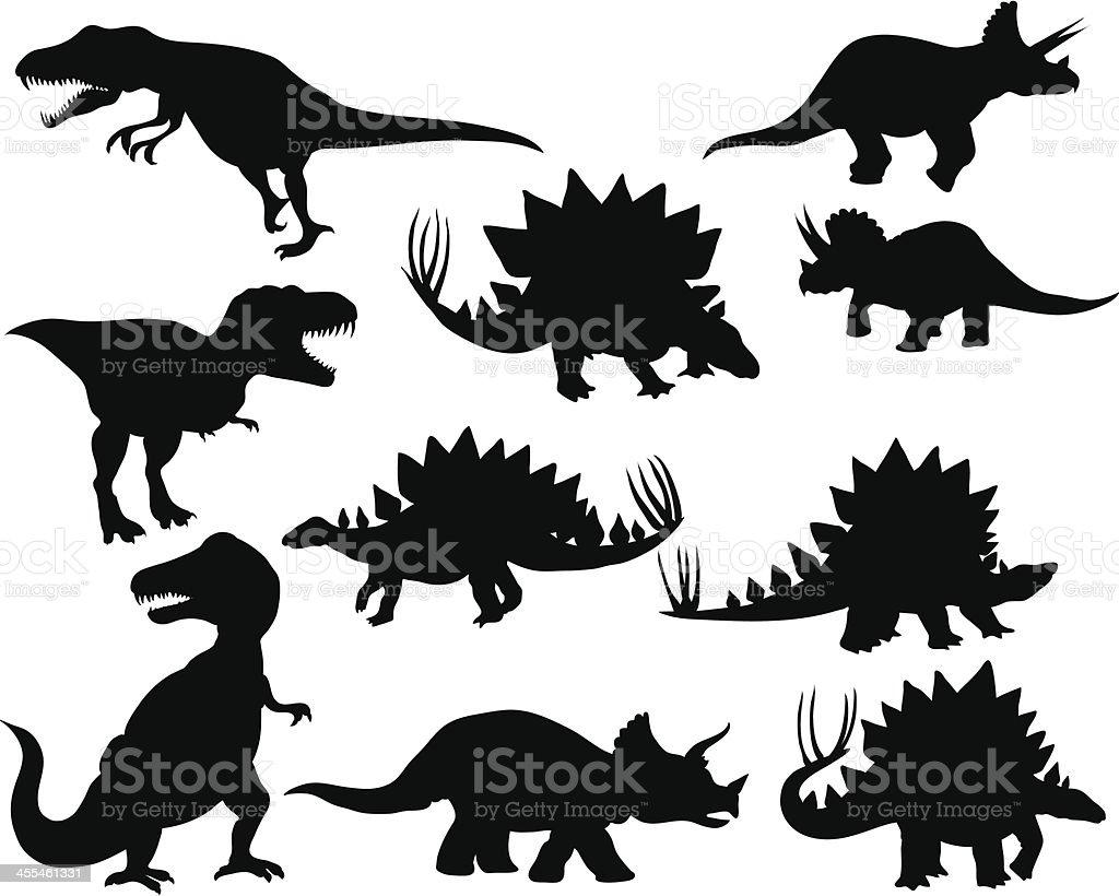 Dinosaur silhouettes 2 royalty-free stock vector art