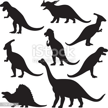Vector silhouettes of a group of dinosaurs.