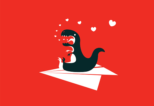 dinosaur sitting on paper plane and exhaling heart symbols