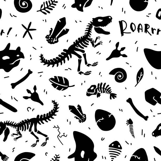恐竜の骨格と化石。ベクトルの継ぎ目が無いパターン。 - 魚の骨点のイラスト素材/クリップアート素材/マンガ素材/アイコン素材