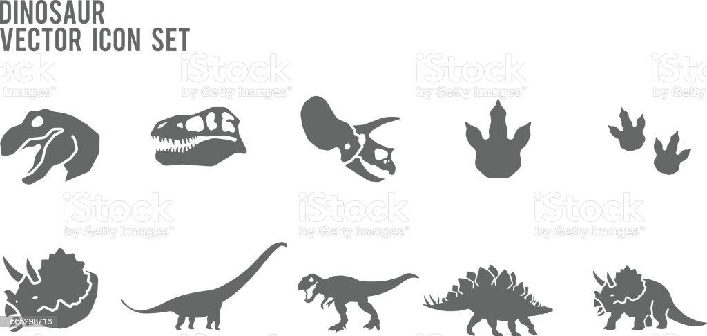 Dinosaur Skeleton Fossil Vector Icon Set vector art illustration