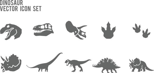 Dinosaure squelette fossile Vector Icon Set - Illustration vectorielle