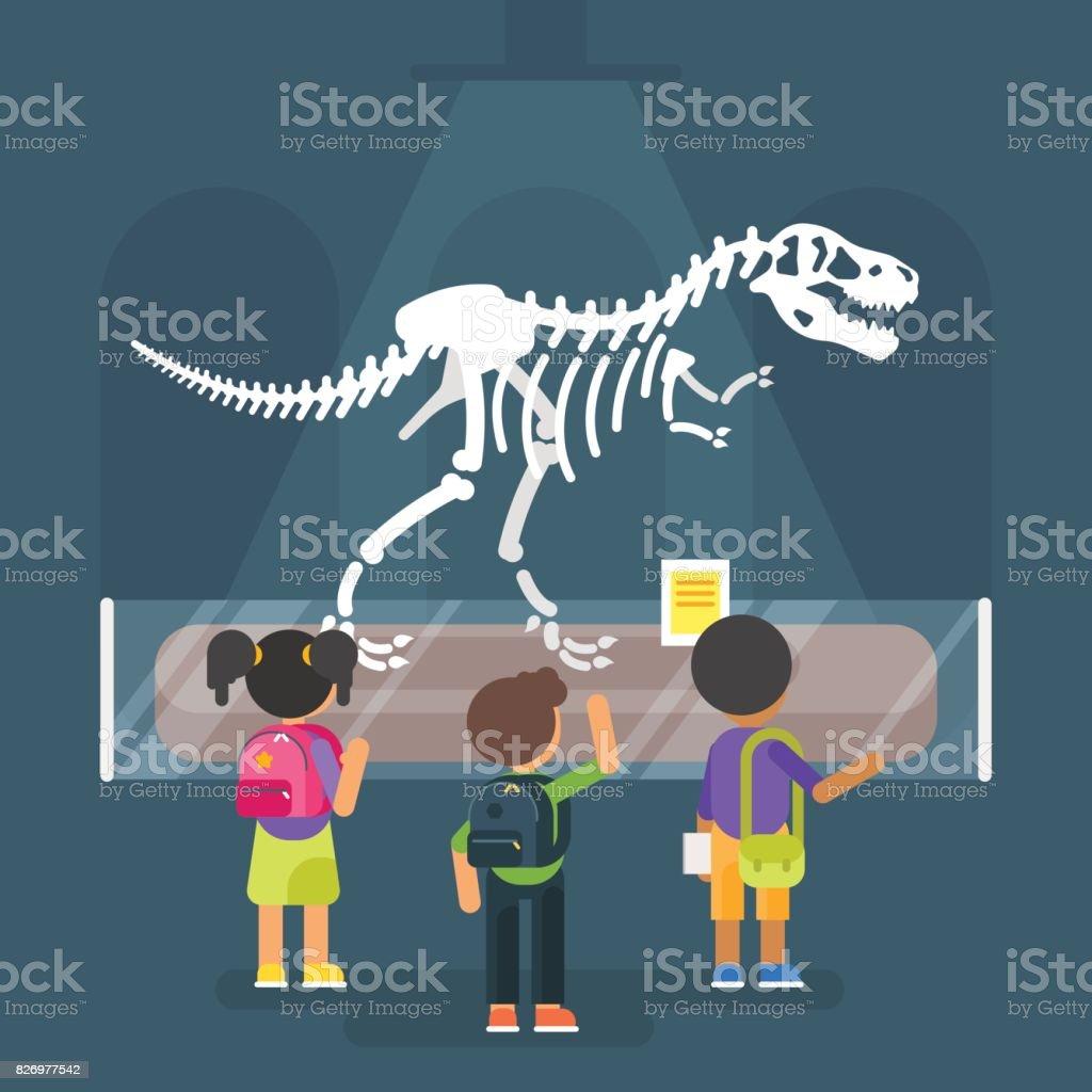 dinosaur skeleton in museum vector art illustration