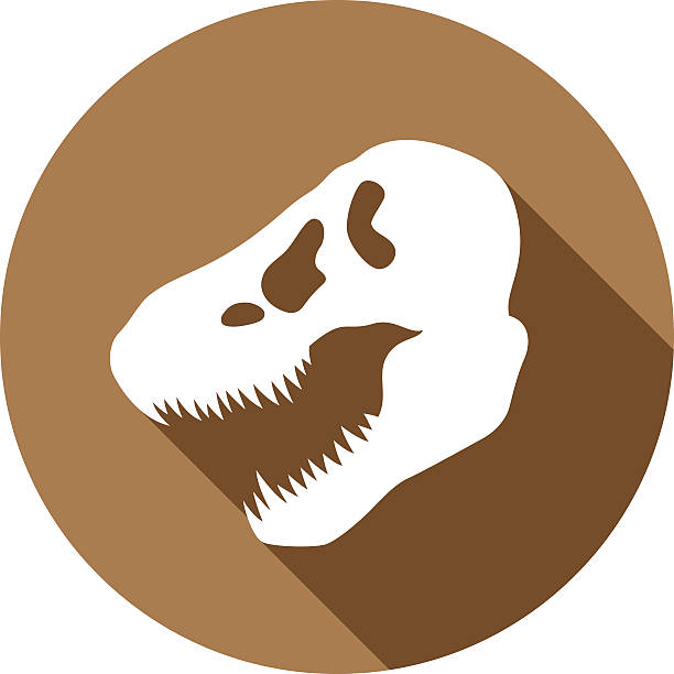 dinosaur skull icon silhouette - animal skull stock illustrations
