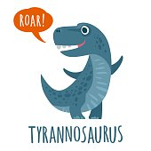 Dinosaur speaks ROAR. Vector colorful flat illustration. Lettering tyrannosaurus