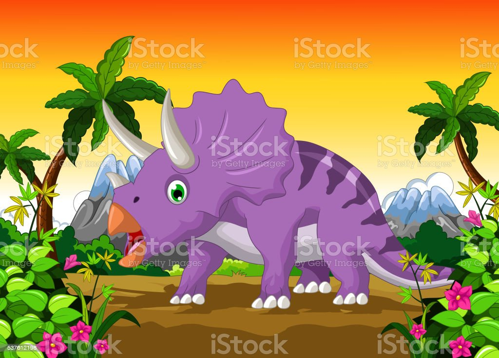 Dinosaur Triceratops cartoon vector art illustration