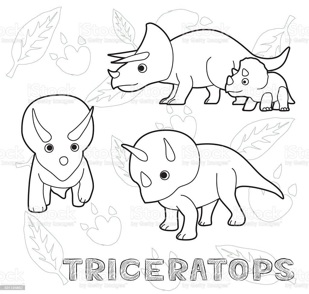 Dinosaur Triceratops Cartoon Vector Illustration Monochrome