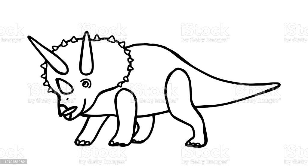 Vetores De Livro De Colorir Triceratops De Dinossauro Para