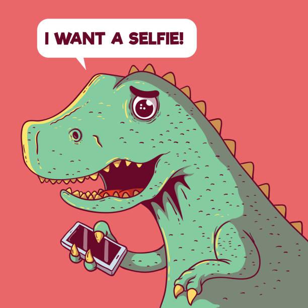 stockillustraties, clipart, cartoons en iconen met dinosaurus proberen te nemen van een selfie vectorillustratie. - teenager animal