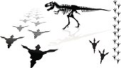 """Dinosaur - Tyrannosaurus Rex. Tight silhouette of a Tyrannosaurus Rex skeleton and its footprints. Check out my """"Dazzling Dinos"""" light box for more."""