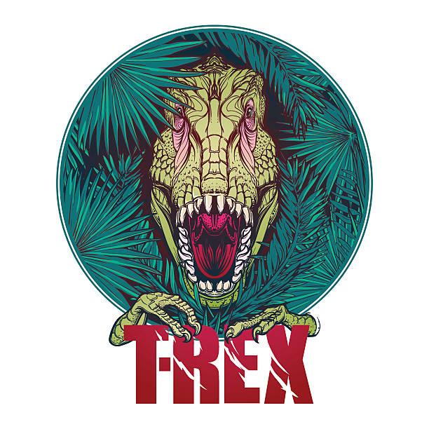 dinosaur tyrannosaurus roaring head on tropical leaves - fossilized leaves stock illustrations