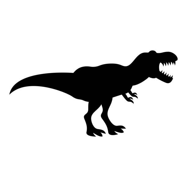 ilustraciones, imágenes clip art, dibujos animados e iconos de stock de dinosaurio tiranosaurio t rex icono color negro ilustración estilo plano imagen - dinosaurio