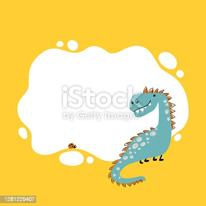 Dinosaur. Vector illustration of a Dino with a blot frame in simple cartoon hand-drawn style. Template for your text or photo. Ideal for cards, invitations, party, kindergarten, preschool and children room