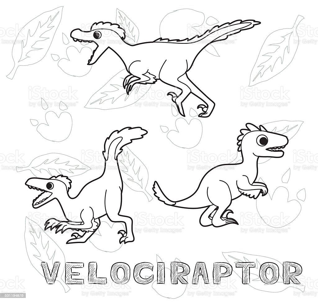 Dinosaurio Velociraptor Ilustración De Vectores De Dibujos Animados ...