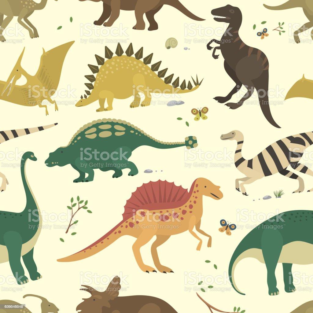 Dinosaur vintage color seamless pattern vector. ベクターアートイラスト