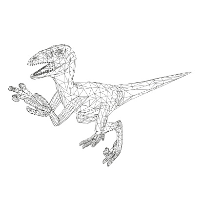 Dinosaur wireframe made of black lines on a white background. Angry dinosaur with raised paws and sharp claws. Isometric view. 3D. Vector illustration