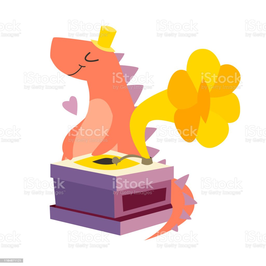 dinosaur with retro gramophone vector illustration stock illustration download image now istock https www istockphoto com vector dinosaur with retro gramophone vector illustration gm1164671121 320198045