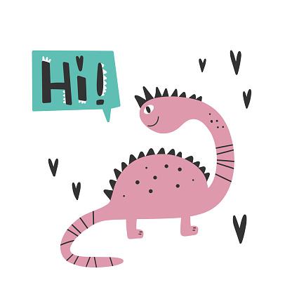 Dinosaur with slogan graphic - hi, funny dino cartoons.